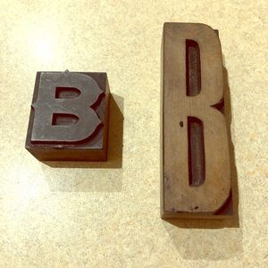 Two Vintage Wooden Letter B Letterpress Blocks